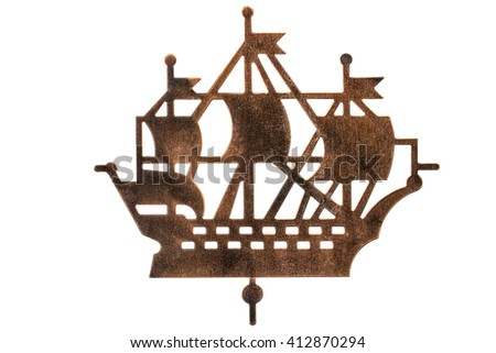 Silhouette of sailing ship, isolated on white background - stock photo