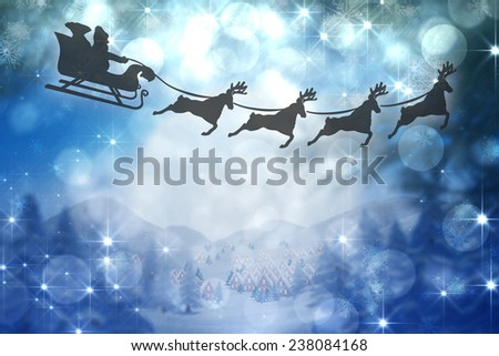 Silhouette of santa claus and reindeer against cute christmas village under huge full moon - stock photo