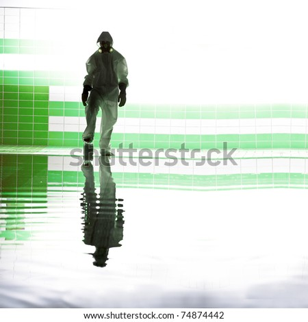 silhouette of scientist on water in suit isolated white background - stock photo