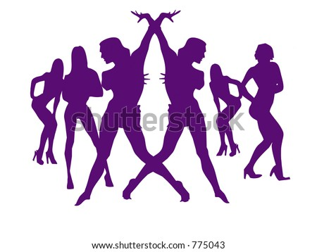 Silhouette of sexy girls