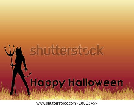 silhouette of SheDevil with Happy Halloween on fire background - stock photo
