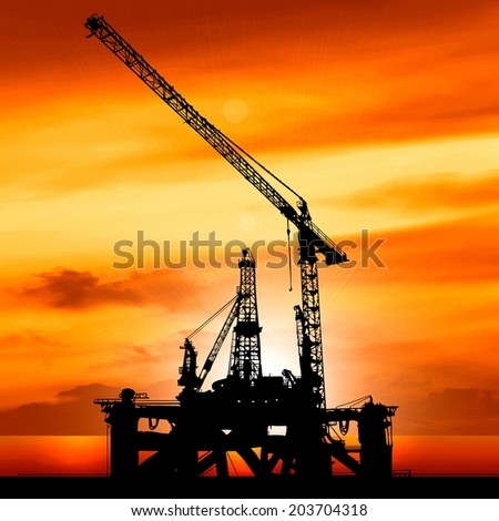 silhouette of shipyard in the sunset illustration