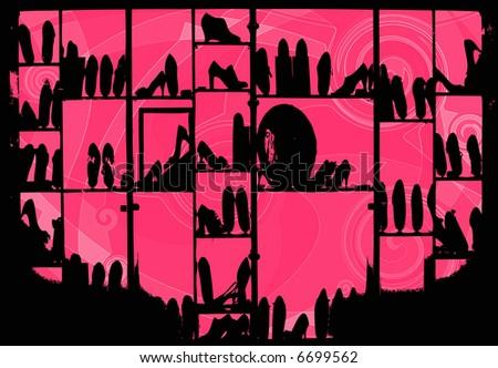 silhouette of shoe shop - stock photo