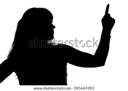 Silhouette of showing up woman, left side on white background
