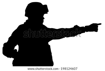 Silhouette of Soldiers standing order ,isolated on white background