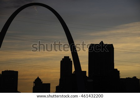 Silhouette of St. Louis at Sunset.