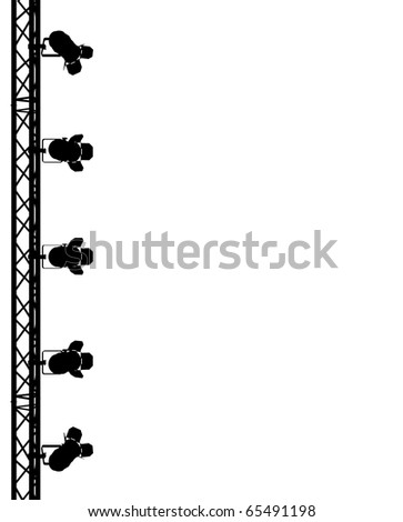 silhouette of stage lights on white background - stock photo