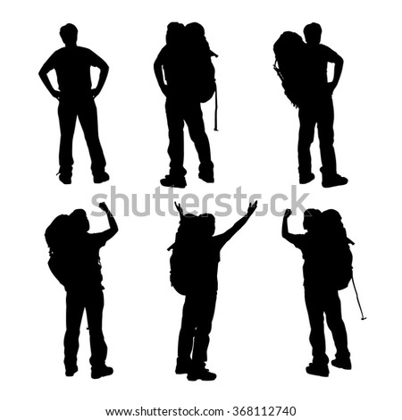 Silhouette of Success man mountain climber with white background