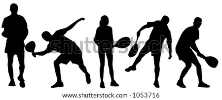 silhouette of tennis players