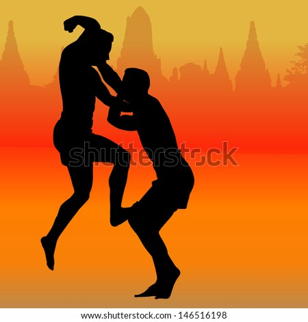 Silhouette of Thai boxing - stock photo
