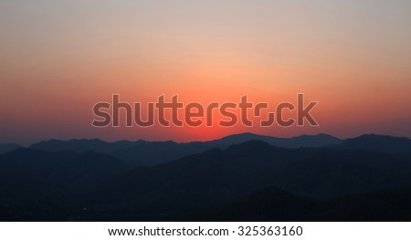 Silhouette of the Arizona mountains at sunset.