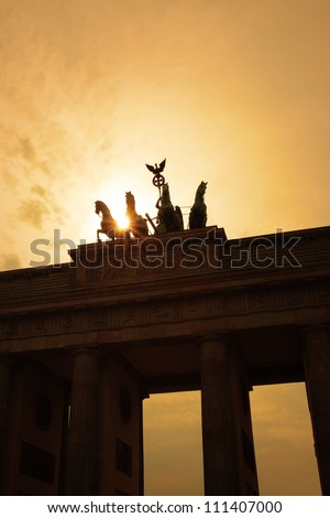 Silhouette of the Brandenburg gate, Berlin - stock photo