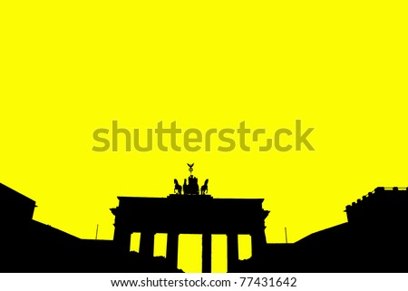 Silhouette of the Brandenburg Gate is a former city gate and one of the main symbols of Berlin and Germany. It is located west of the city center at the junction of Unter den Linden and Ebertstrasse. - stock photo