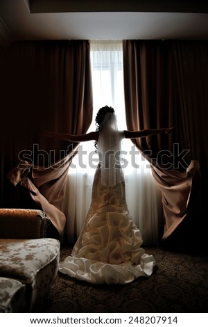 silhouette of the bride standing at the window of their wedding day. - stock photo