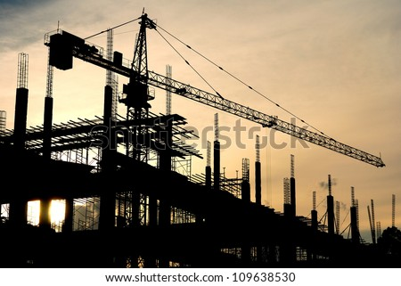 silhouette of the building construction - stock photo