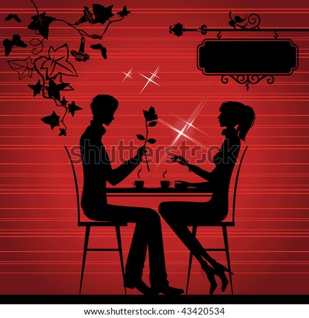 Silhouette of the couple in the cafe, raster version of vector illustration. - stock photo