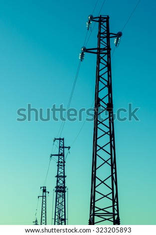 Silhouette of the electricity pylon