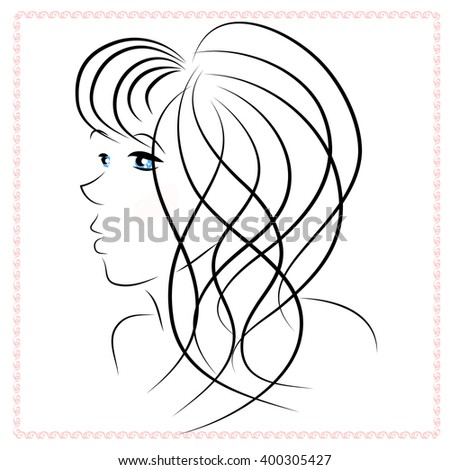 Silhouette of the face of a beautiful girl in profile. Long wavy hair with bangs, gentle look. It can be used for the presentation of the spa, beauty and hairdressing salons.