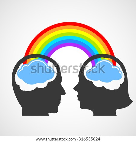 Silhouette of the head of man and woman. Stock image. - stock photo
