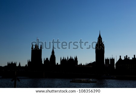 Silhouette of the house of parliament - stock photo