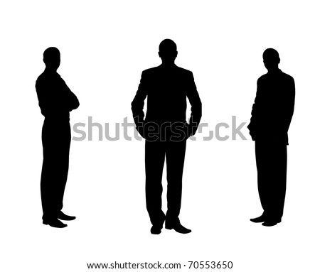 Silhouette of the men. Various poses. Uncurl hair. It is isolated on a white background - stock photo