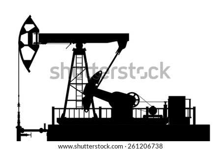 Silhouette of the oil pump on a white background. - stock photo