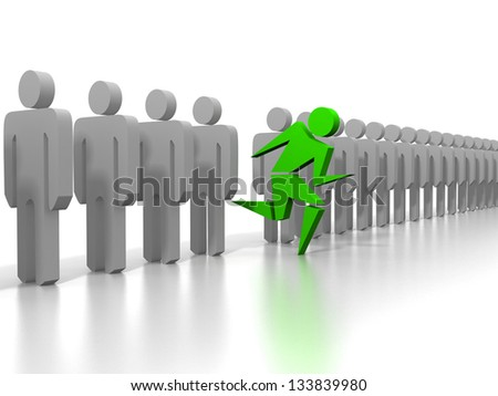 Silhouette of the running person among standing figures - stock photo