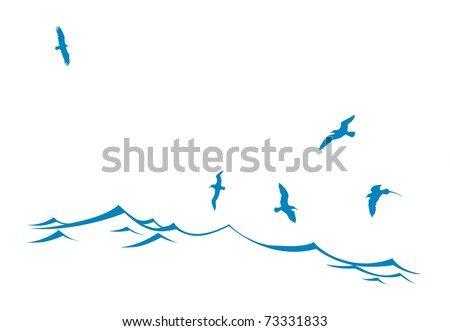 silhouette of the sea birds on wave - stock photo