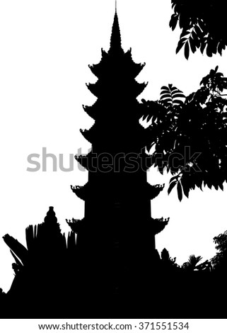 Silhouette of the Tran Quoc Pagoda, Hanoi, the oldest in Vietnam, dating from 545AD.  The tower was rebuilt in 2004 - stock photo