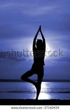 Silhouette of the women meditate on moon night - stock photo
