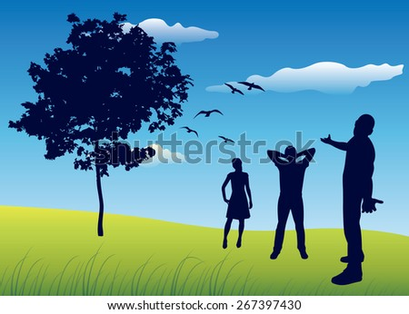 silhouette of three people standing on summer field near tree, b