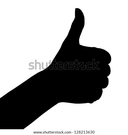 Silhouette of thumb up hand. Ok sign isolated on white background - stock photo