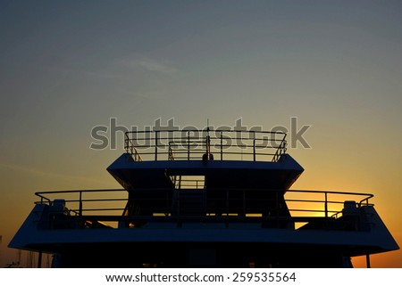 Silhouette of  top  luxury yacht - stock photo