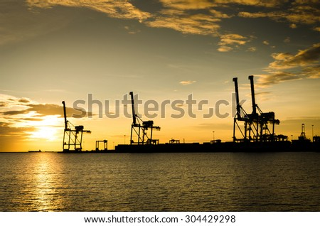 Silhouette of Trade Port , Shipping