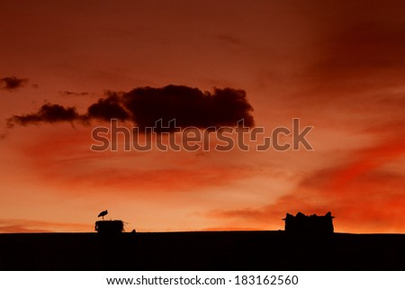 Silhouette of traditional towers in Morocco, Ait Benhaddou - stock photo