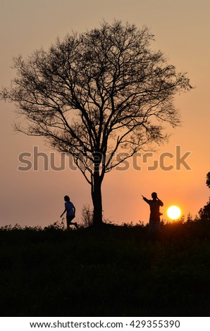 Silhouette of tree and couple love in twilight time