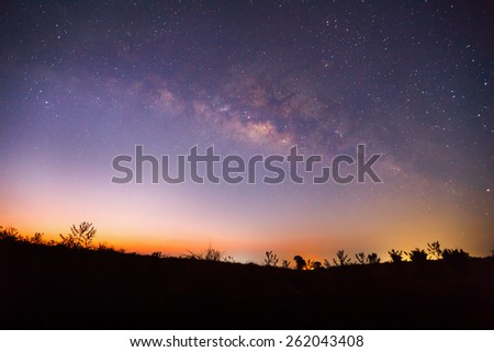 Silhouette of Tree and Milky Way, Long exposure photograph.  - stock photo