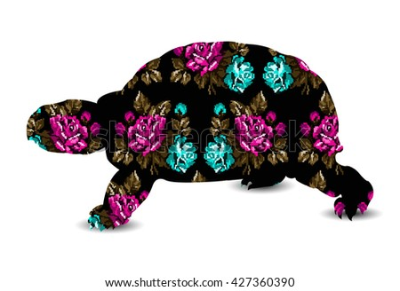 Silhouette of turtle with color bouquet of flowers roses pink, blue, green tones on the black background using  ethnic elements. - stock photo