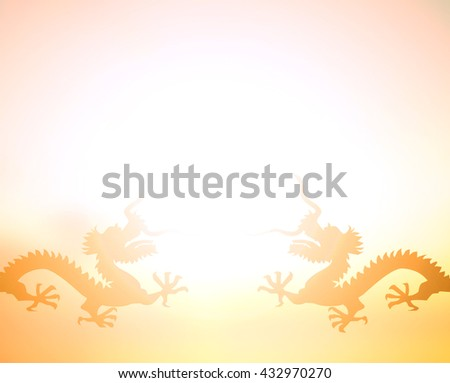 Silhouette of twin dragon at sunset. Red Sun East Guard Art Big Sky Boat Year  Card Cut Clip Fly Color Claw Ink Luck Good Myth Water Asia Seal Hanzi Old Folk Evil Off Date Race Wine Whole Japan God - stock photo