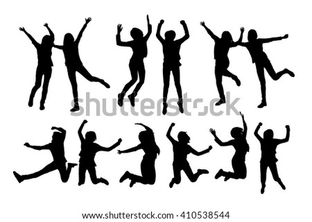 silhouette of two girl friends cheer,beauty,white background - stock photo