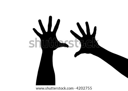 Silhouette of two hands over white background - stock photo