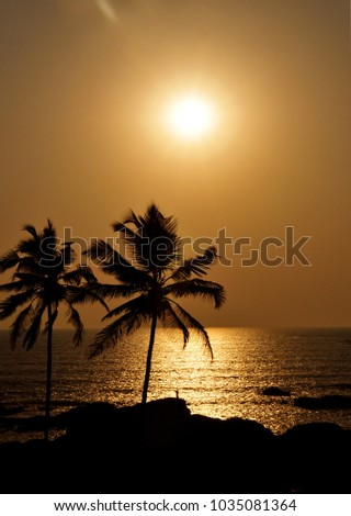Silhouette of two palms on background of yellow sunset and sea
