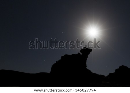 Silhouette of unusual rock formation at night with full moon, Moon Valley (Valle de la Luna), Ischigualasto National Park, San Juan, UNESCO work heritage site., Argentina