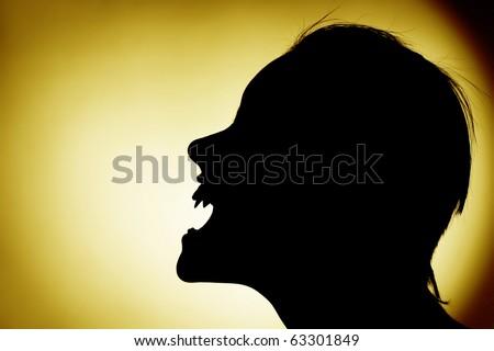 silhouette of vampire - stock photo