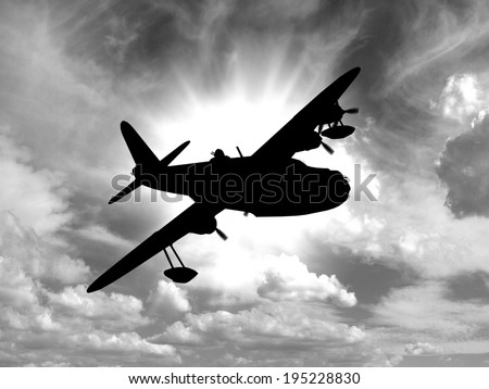 Silhouette of Vintage World War 2 flying boat. - (Artist's Impression, computer image) - stock photo