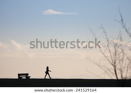 Silhouette of walker on horizon - stock photo