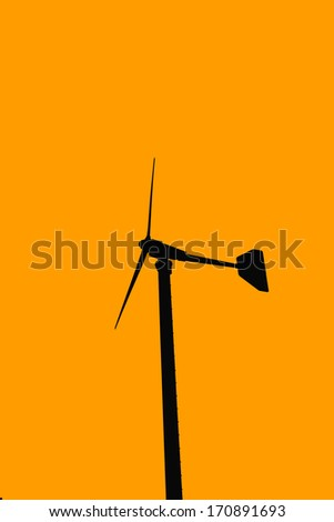 Silhouette of wind turbines in farm-2