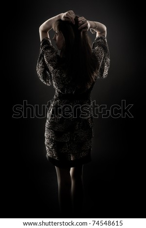 silhouette of woman - stock photo