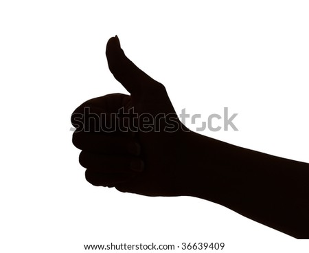 silhouette of woman hand