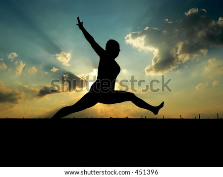 Silhouette of Woman Leaping
